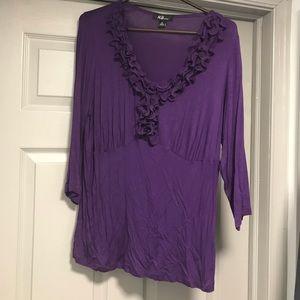 Purple Ruffle Top. 1X